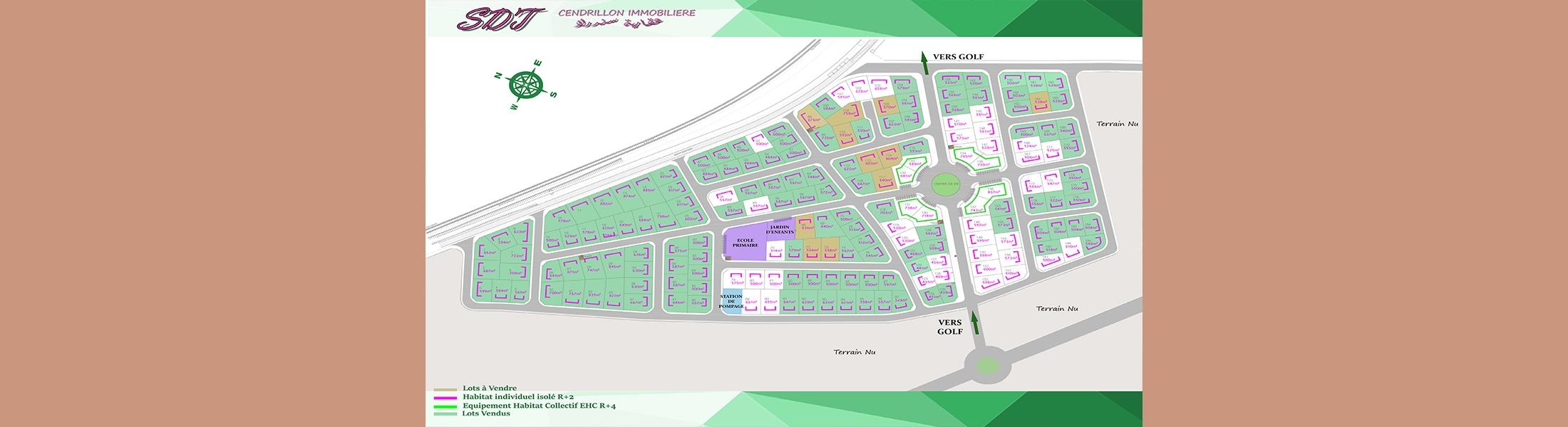 Vente des lots viabilisés à Monastir « Lotissement El Achaab Golf »
