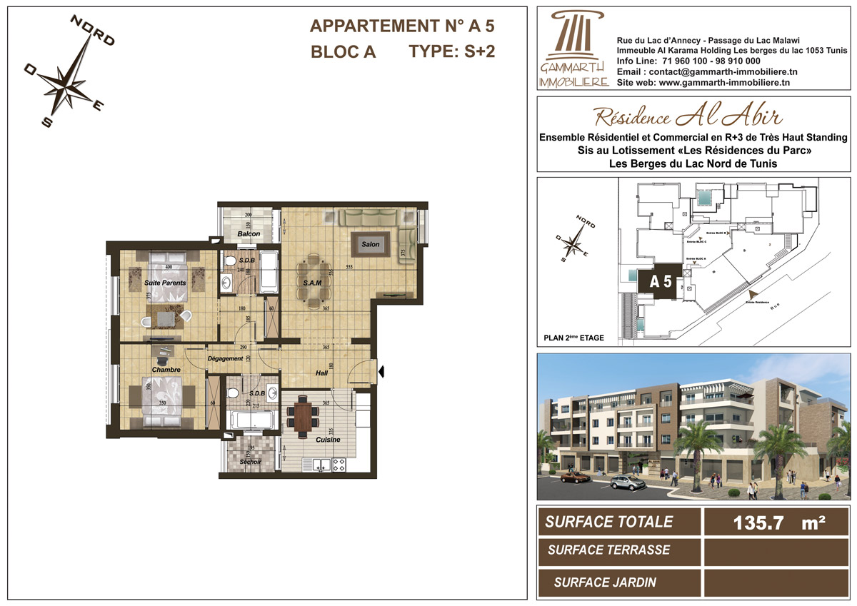 Plan de l'appartement A5 Al Abir