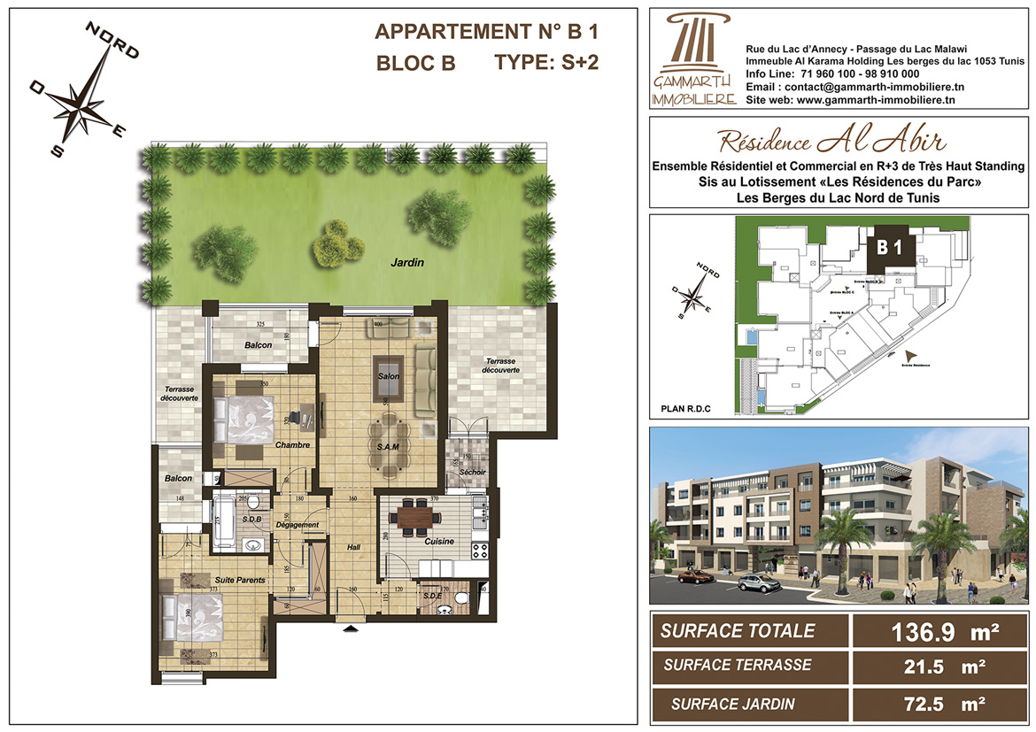 Plan de l'appartement B1 Al Abir