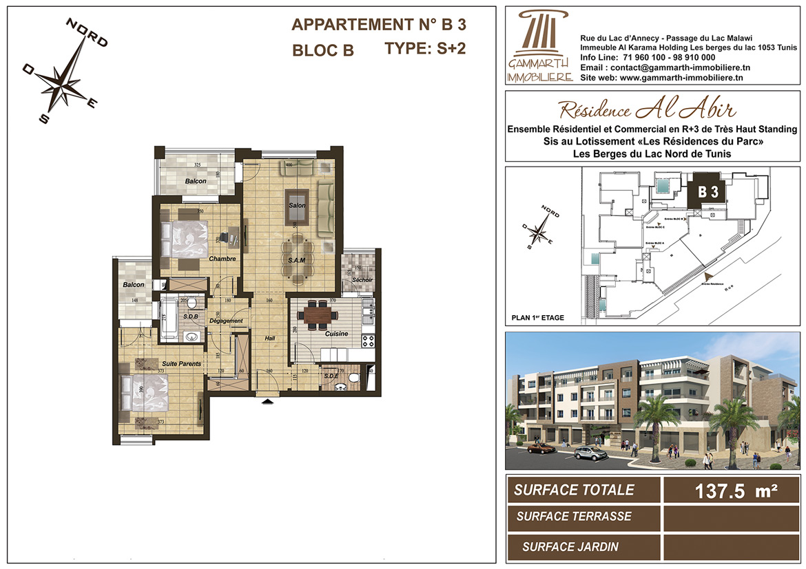 Plan de l'appartement B3 Al Abir
