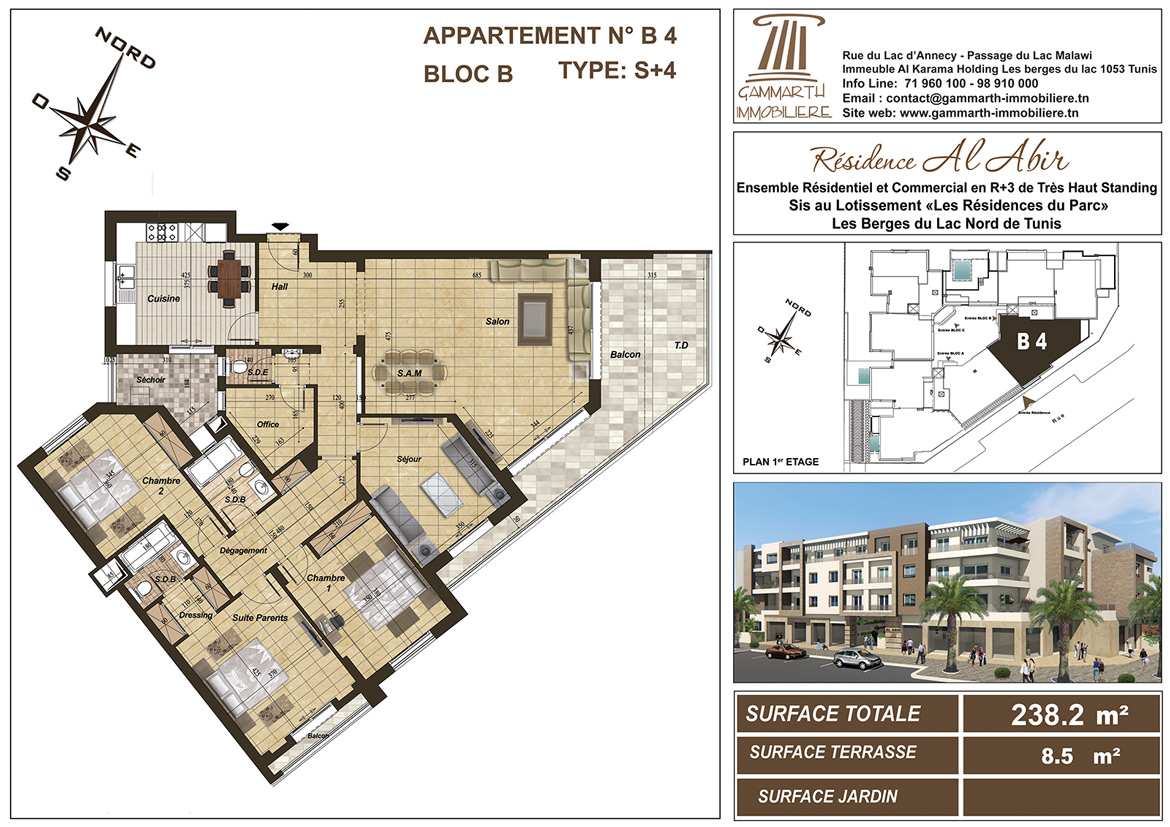 Plan de l'appartement B4 Al Abir