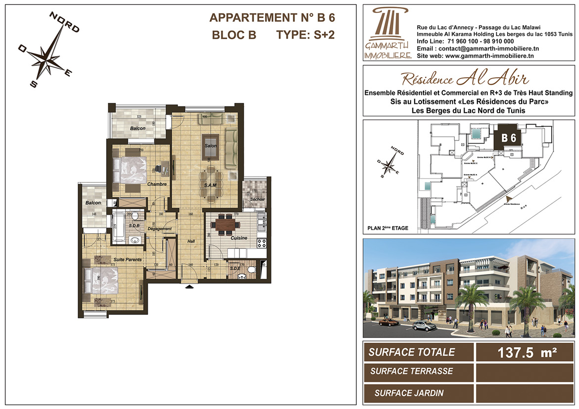 Plan de l'appartement B6 Al Abir