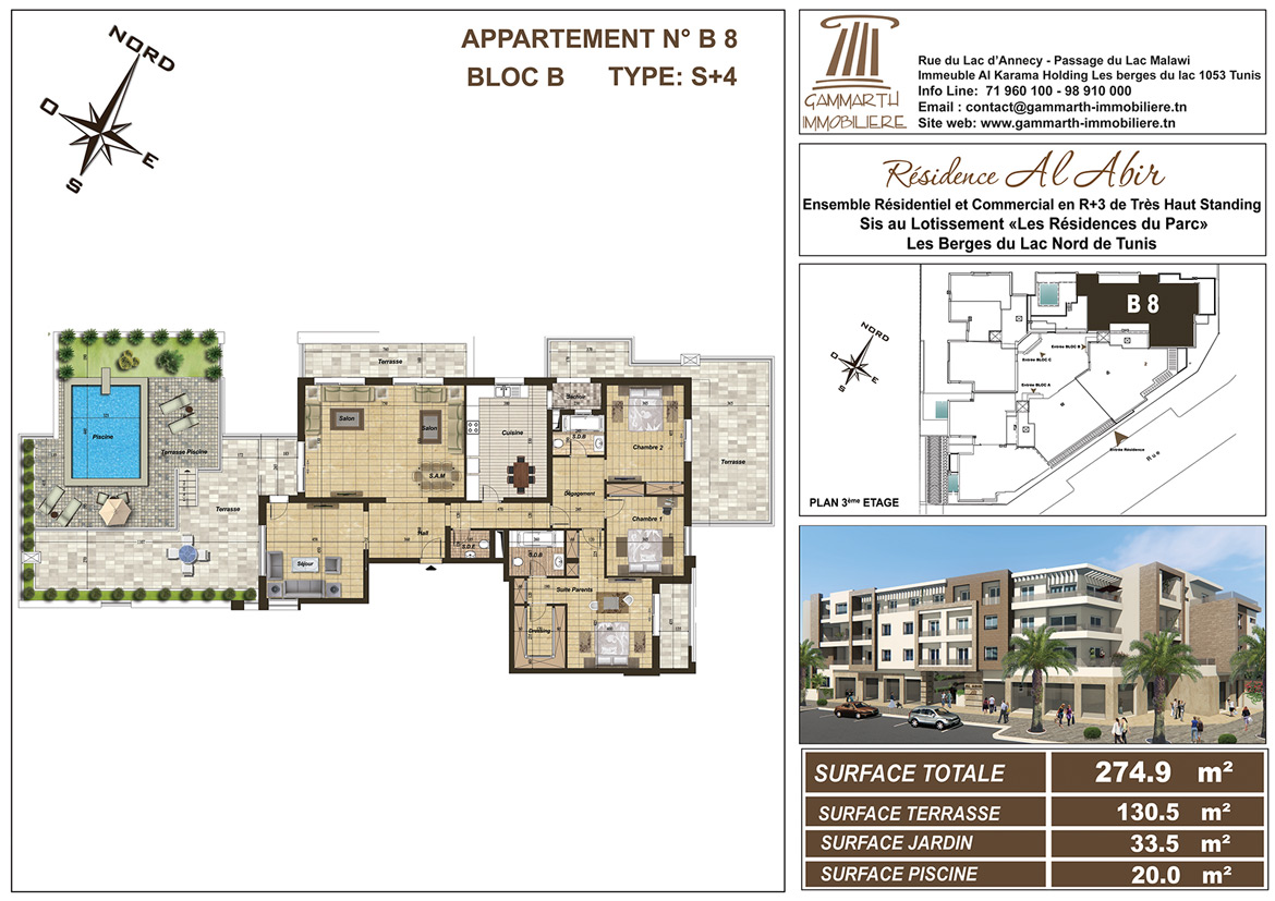 Plan de l'appartement B8 Al Abir