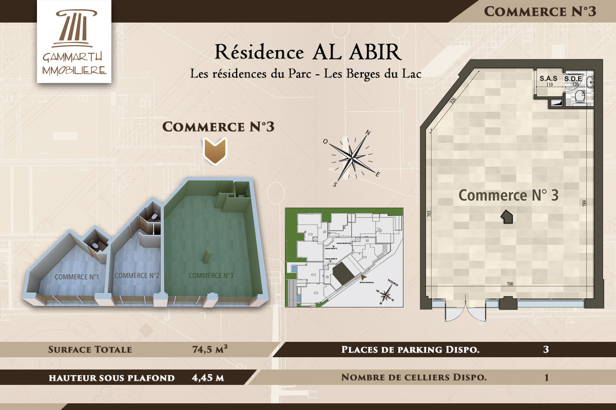 Plan du local commercial N°3 Al Abir